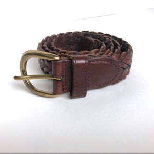 Vintage Accessories - Vintage Braided Brown Leather Belt Size Medium